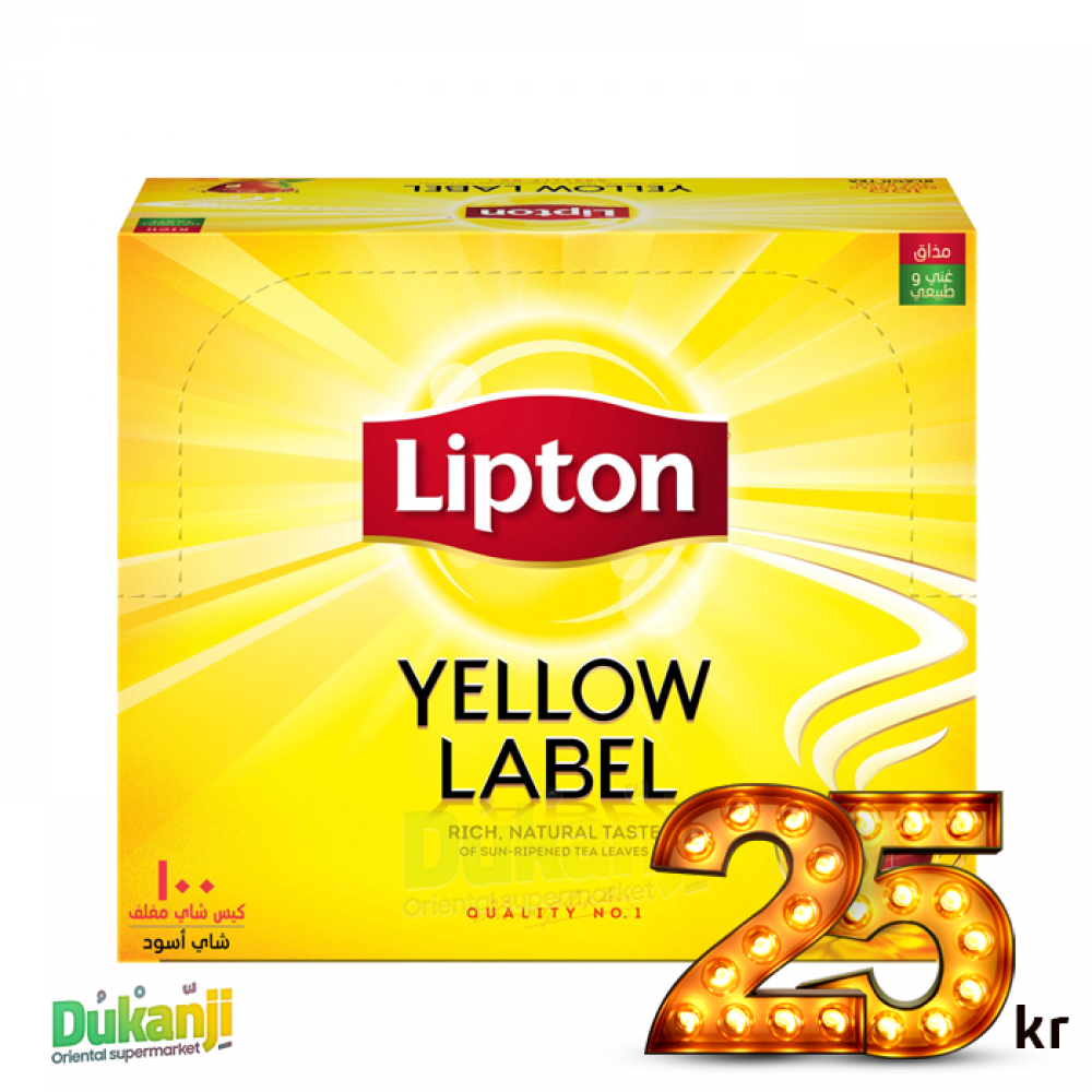 Lipton Yellow Tea label 100 tea bags